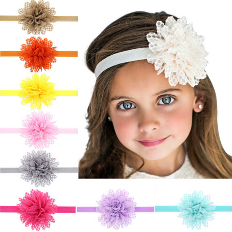 1PC Wholesale Baby Infant Flower Headband Shabby Flowers Pearl Chiffon Flowers Children Hair Bands Girls Hair Accessories w42 metting joura vintage bohemian green mixed color flower satin cross ethnic fabric elastic turban headband hair accessories