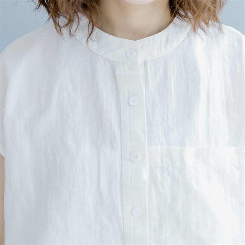 Johnature kadın standı gömlek ve bluzlar 2020 yaz yeni düz renk pamuk keten Casual Tops düğme çin tarzı kadın gömlek