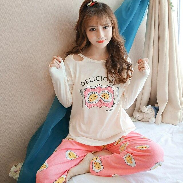 cf1541f11 Mulheres Pijamas de Algodão de Manga Longa Bonito Ovo Impressão Letras  Kawaii Sleepwear Feminina Inverno 2