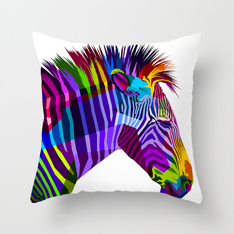 Table & Sofa Linens Colorful Animal Cushion Cover Lovely Cat Dog Giraffe Zebra Lion Pillow Cover Polyester Pillow Case Home Decor Be Friendly In Use