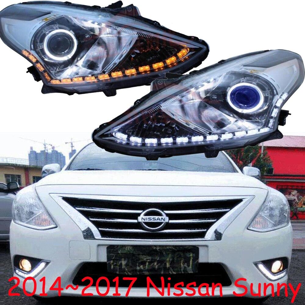 2pcs Car Head Light For Nissan Sunny Headlights 2010~2013/2014~2017year Sunny Headlight Bi-Xenon Beam Fog Light Angel Eyes Auto