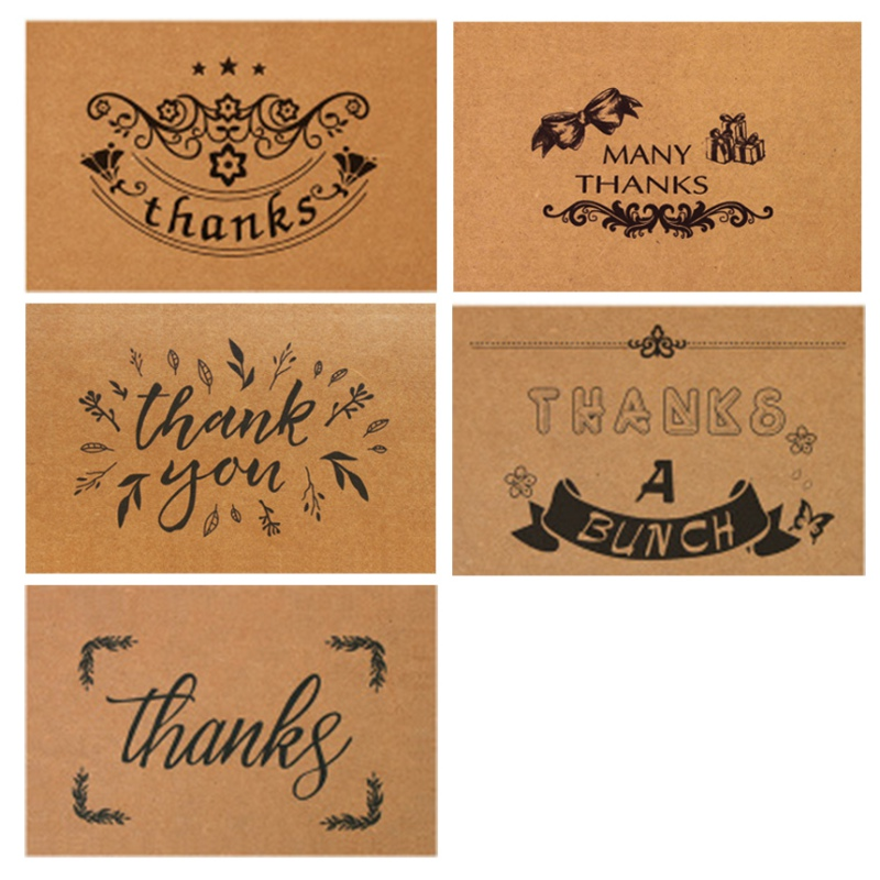 Chic 10 Pcs Retro Kraft Paper Thanks Card Incitations Thanksgiving Handwritten Greeting Card Blessing Card Chic Sweet Style