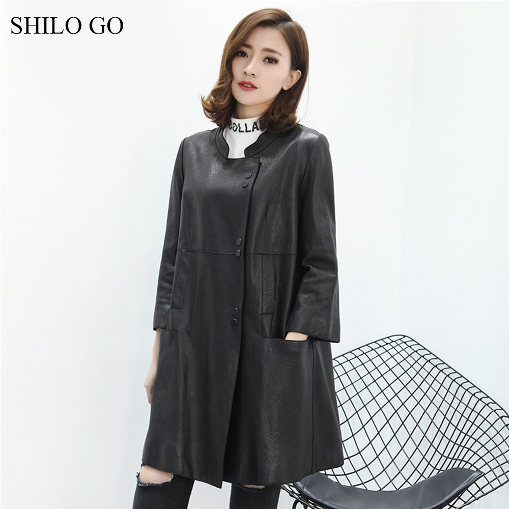 SHILO GO Leather Trench Womens Spring Fashion sheepskin genuine leather long coat lapel collar single breasted causal loose coat