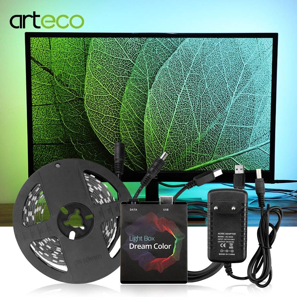WS2812b окружающей среды цветная (RGB) Светодиодные ленты светильник 5050 Android 5/6/7/8/9 ТВ настольных ПК Экран тыловая подсветка светильник ing ws2812 Свет...
