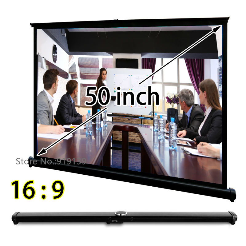 Easy Open Mini Projection Screen 50 inch 16x9 Widescreen Ultra HD 3D Projection Display For Trading Meeting