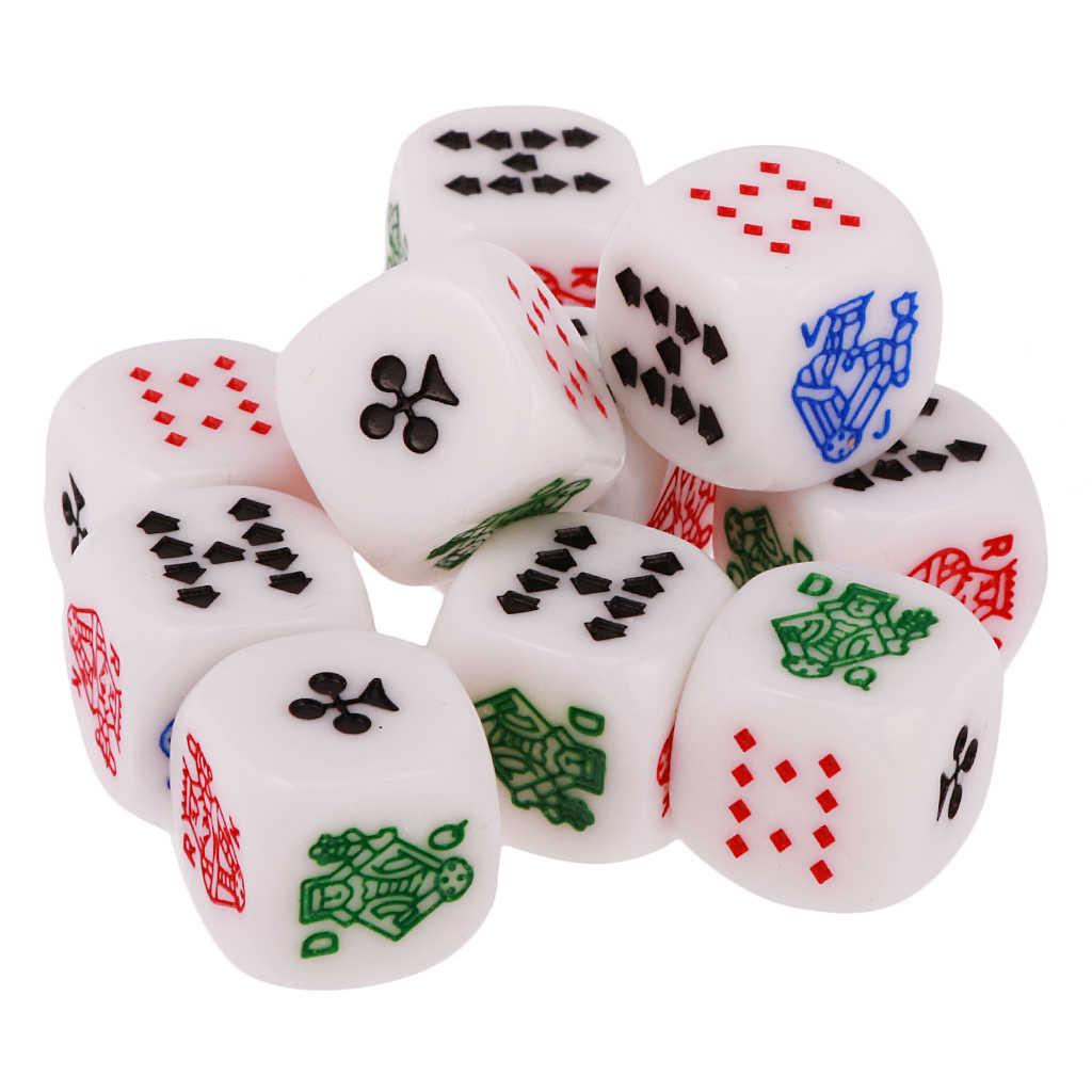 Gran oferta, paquete de 10 Uds. De dados de póquer de seis caras de 12mm para cartas de póquer de Casino, Pub familiar divertido juego de, juguetes de dados multicolores