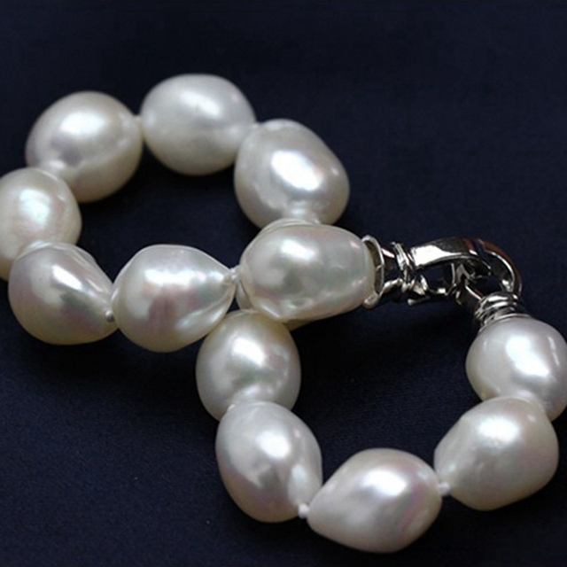 star stely Noble for women Natural Freshwater irregular flawless pearl Bracelet Customized length fine jewelry with heart clasp
