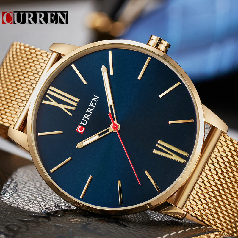 Curren Mens Watches Top Brand Luxury Gold Quartz Men Watch Waterproof Mesh Strap Casual Sport Male Clock Watch Relogio Masculino