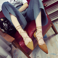 Fashion Women Ballet Flats Shoes Elegant Summer Hollow Lace Up Suede Pointed Toe Flats Soft Shoes for Girls