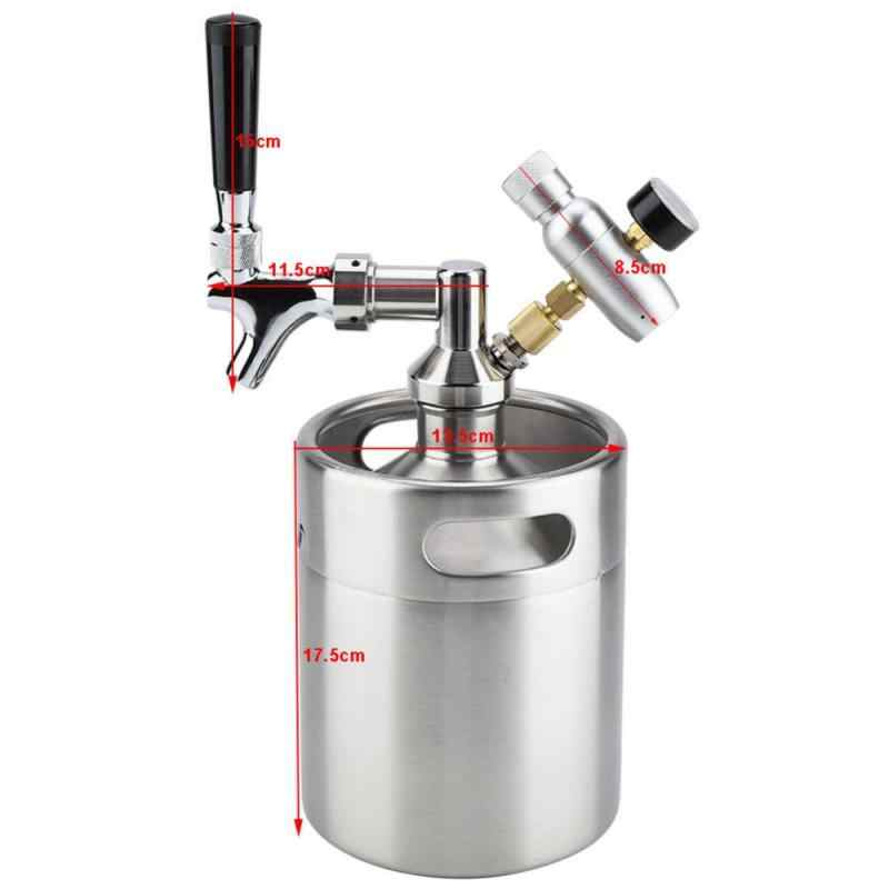 Household 2L Mini Stainless Steel Keg with Faucet Pressurized Home Brewing Craft Beer Dispenser System 1 Set of Stainless Steel