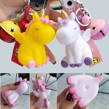 Pink Unicorn Keyring Cut Keychain Bell for Girls Birthday Party Unicornio Bags Accessories Model Toys