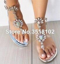 2018 Shoes Woman Sandals Women Rhinestones Chains Flat Sandals Thong  Crystal Flip Flops Sandals Gladiator Sandals c8254b4c0f02