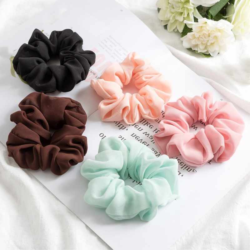 Fashion Bobble Solid Chiffon scrunchie Pure Rope Sports Dance Elastic Headband Women Hair Bands Ring Ponytail Round Headbands