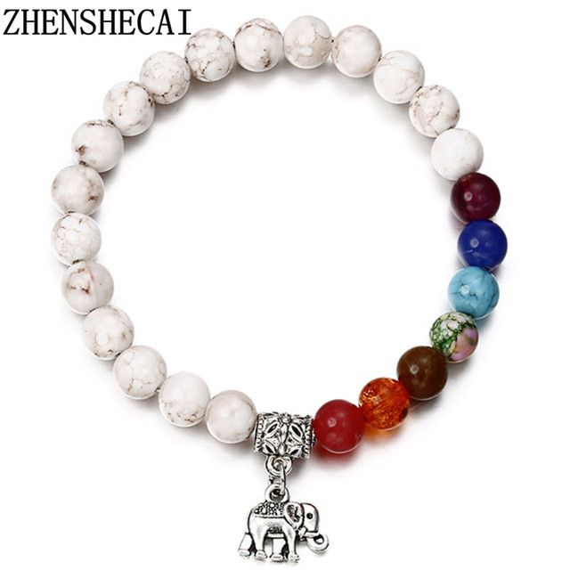 2018 popular Bracelet elephant pendant White color mix Beads for women men jewel