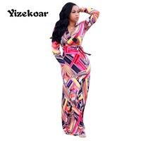 Yizekoar 2018 Sommer Langarm Sexy V-ausschnitt Handschrift Malerei Kleid Mit Gürtel Damen Casual Kleider Damen Arbeitskleidung Vestidos