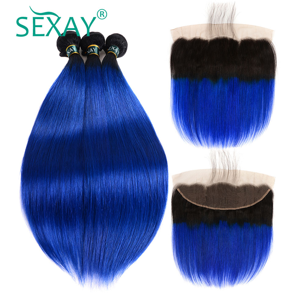 Ombre Bundles With Frontal Pre Plucked With Baby Hair SEXAY Ombre Blue Bundle With 13x4 Frontal