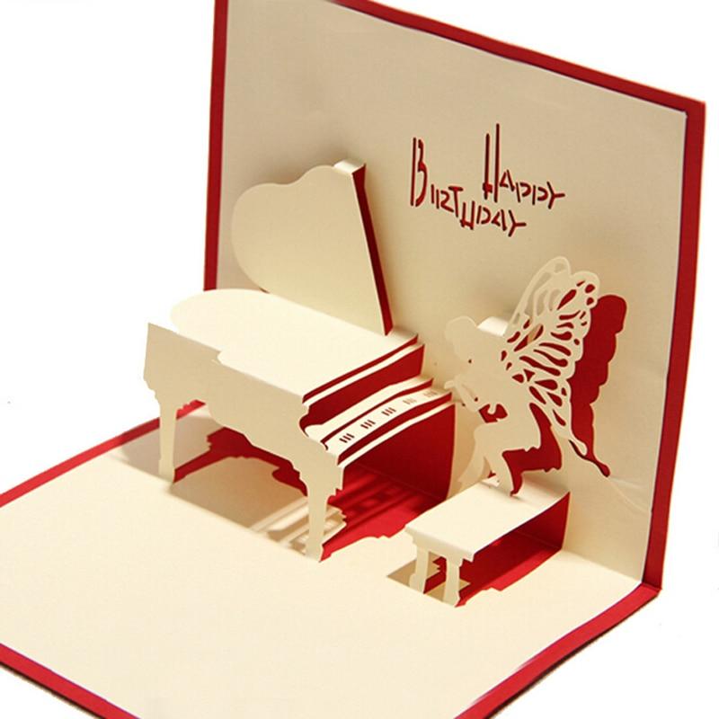 10 Pieces Lot Piano Birthday Card 3d Kirigami Pop Up Card