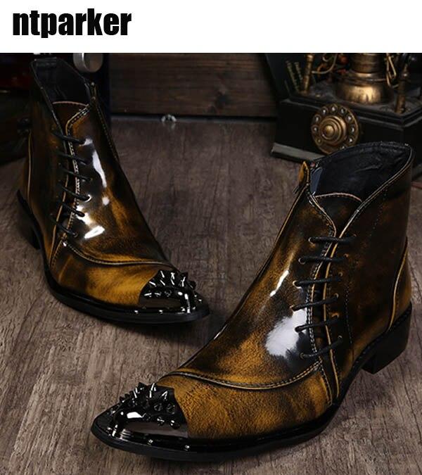 Здесь продается  ntparker Motocycle Western Men Ankle Boots Ponited Iron Toe Short Boots Bronze Designer