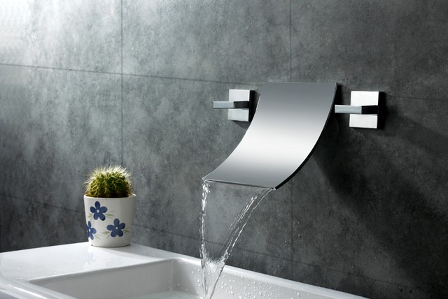 Free Shipping Polished Chrome Waterfall Widespread Contemporary Bathroom Sink Faucet 3 Hoes Square