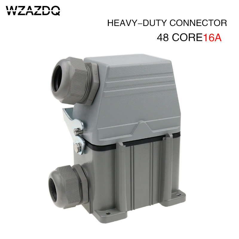 heavy duty connector Hdc-he-048 rectangular 48-core high base industrial waterproof aviation plug socket купить в Москве 2019