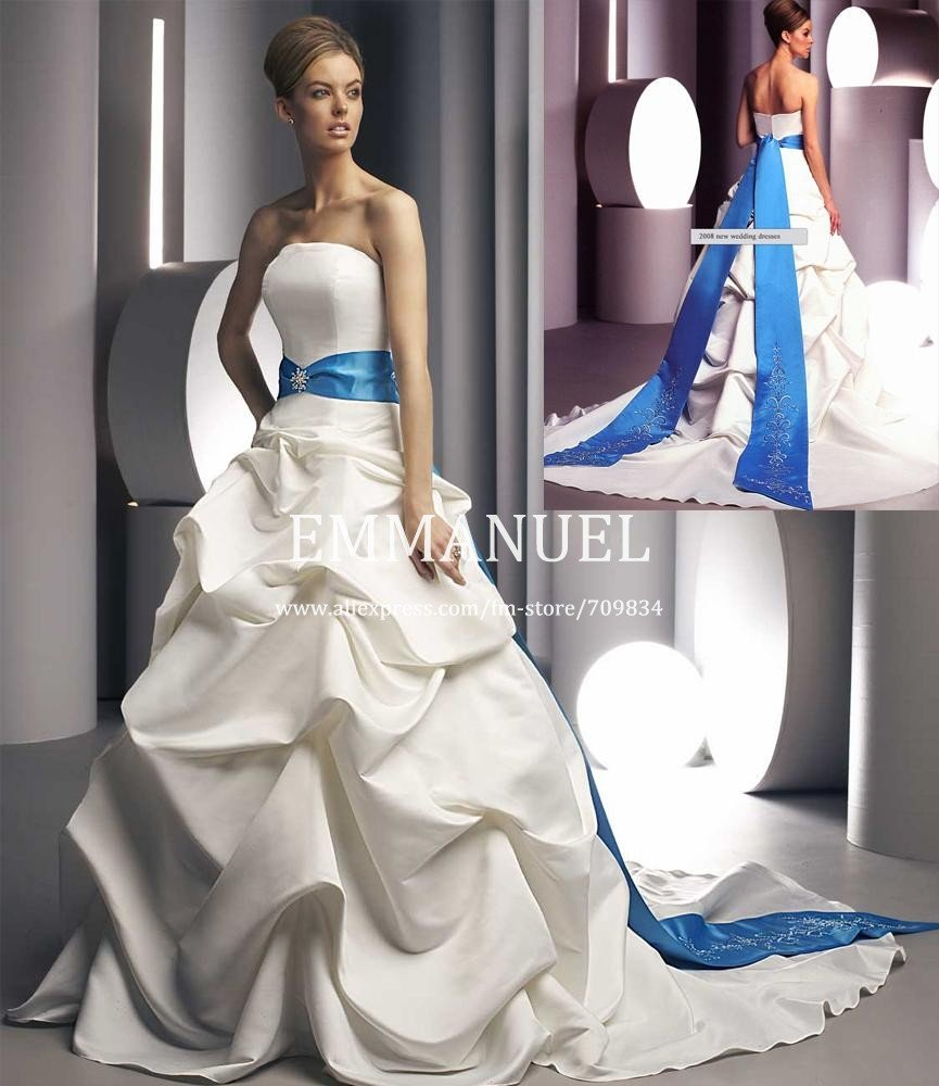 White and royal blue wedding dresses for Wedding dress with blue detail