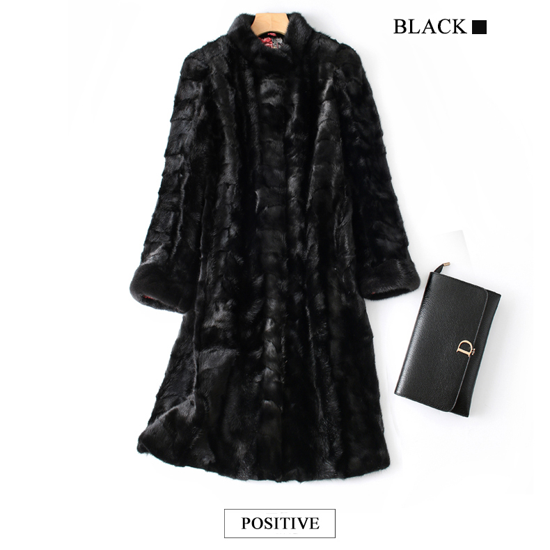 Mink Fur Coat Female Natural Fur Mink Coats Real Mink Coat 92CM Black waistcoat Women`s Genuine Fur Jackets Ship By DHL