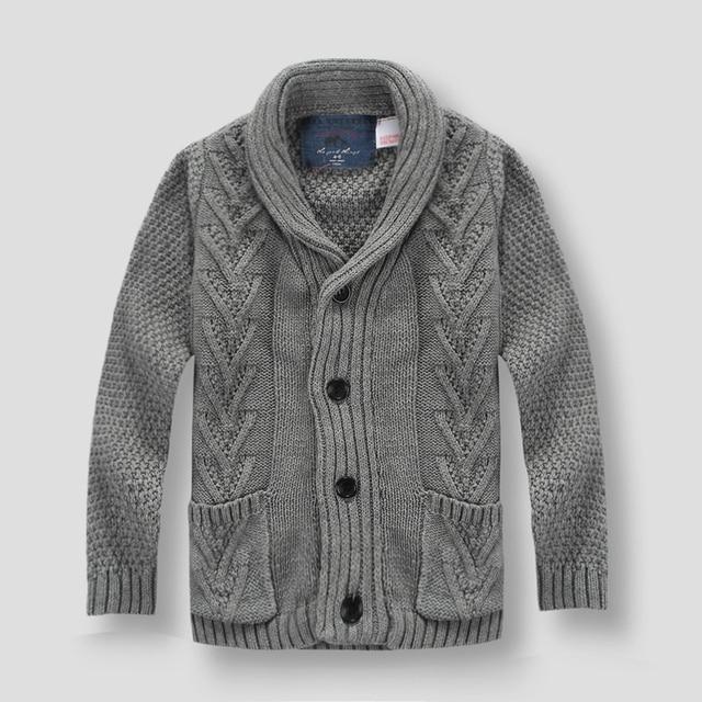 Hot sale Spring autumn fashion children's sweater 2-8Y baby boy's Cardigan Sweater Coat Turn Down Collar kids sweaters jackets