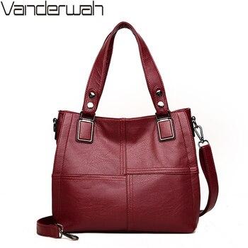 057e9be72 Nuevos bolsos de cuero de moda para mujer bolsos de mano de marca famosa de  lujo de diseñador de tela escocesa Bolso grande de mujer Casual bolsa A ...
