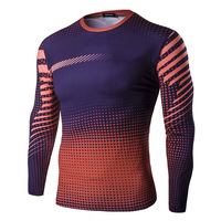 Muscle Men Compression Tight T Shirt Long Sleeves Double Sides Prints Fitness Base Layer Weight Lifting