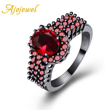Ajojewel Size 6-9 New Women's Red Stone Annel Gun Black-color Ring For Women Purple Black Green Wedding Party Jewelry 2017 New