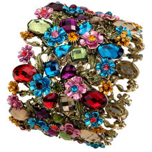 Floral stretch wide bracelet for women summer cute flower cuff bangle fashion jewelry wholesale F28
