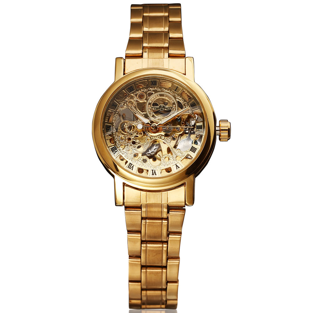 Top Brand WINNER Women s Fashion Skeleton Watches Rhinestone Clock Stainless Steel Mechanical Self Wind Ladies