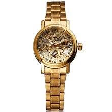 Top Brand GANADOR Esqueleto de la Manera de Las Mujeres Relojes de diamantes de Imitación Señoras reloj de Pulsera de Reloj Auto de Viento Mecánico de Acero Inoxidable Reloj de Vestir