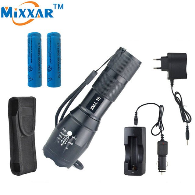 ZK10 4000 lumens E17 t6 adjustable led flashlight CREE XM-L T6 high power with two Chargers, 2*5000mAh batteries and sleeve