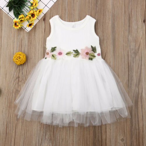 Toddler <font><b>Kids</b></font> Baby Girl Embroidery Floral <font><b>Dress</b></font> Sleeveless High Waist Princess Lace Tutu Tulle <font><b>Cocktail</b></font> <font><b>Dresses</b></font> image