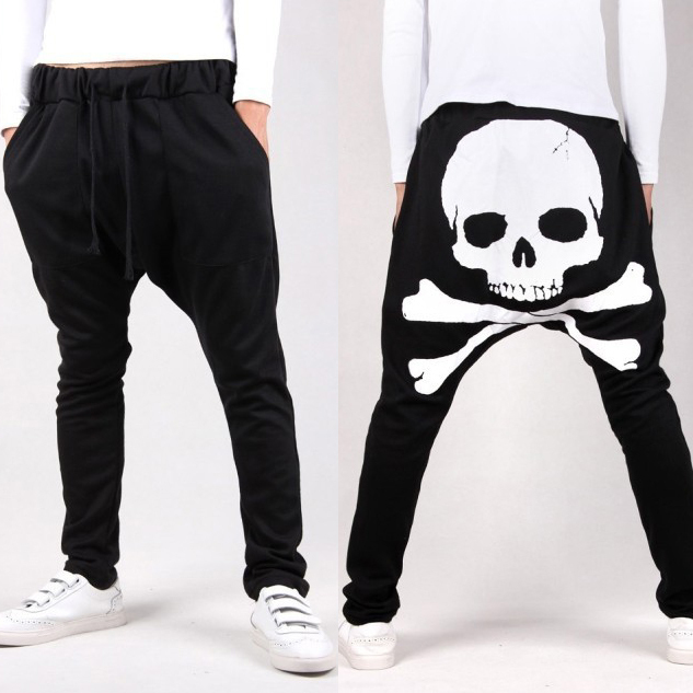 34e7394b711 Skull black trousers men korean harem pants hip hop 2018 fashion mens low  crotch summer spring casual baggy dance