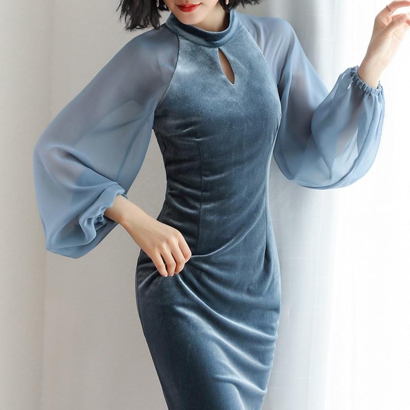 New 2018 Autumn Dress Brand Fashion Runway Designer Velvet Dress Chiffon Lanterns Sleeve Gold Velvet Dress