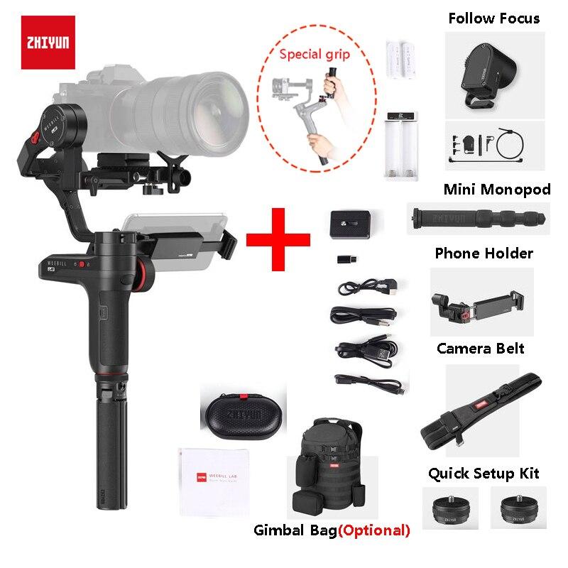 Zhiyun Weebill LAB 3-Axis Handheld Gimbal Stabilizzatore per Fotocamere Mirrorless + Monopiede + Supporto Del Telefono + Servo di Seguire messa a fuoco