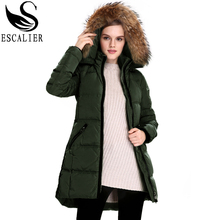Escalier Women's New winter down jacket army green,beige,black3 color removable raccoon fur hooded real collars warmduck feather