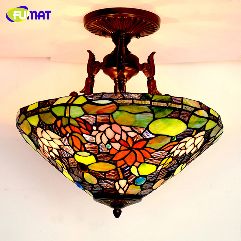Us 298 14 15 Off Fumat Gl Art Ceiling Lamp European Style Vintage Led Lotus Stained Clic Light Fixtures Living Room Hotel Lightings In