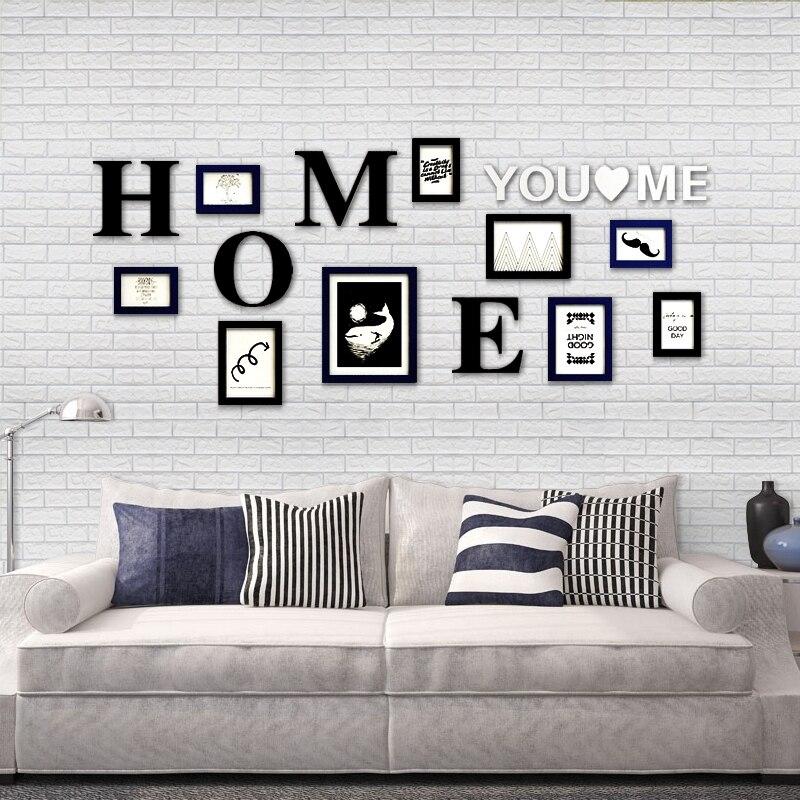 Home Design Wall Sticker Photo Picture Frames,Room Decor Rectangle Frame for Family Picture,9pcs Album Frames Set