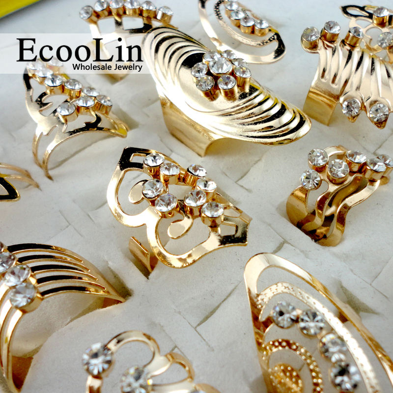 EcooLin Brand 20Pcs Mix Style Zinc Alloy Gold Ring Adjustable Finger Ring for Women Fashion Jewelry Bijoux Lot Rings LR475