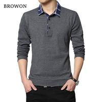 BROWON T Shirt Korean 2017 Casual Men T Shirt Plaid Collar Long Sleeve Men Cotton T