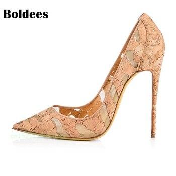 Yellow fashion design women's high heel pumps summer see through Party Wedding stiletto shoes 12cm thin heels