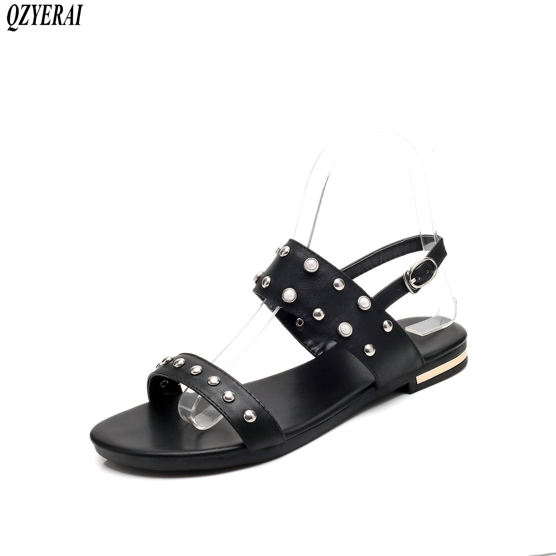 QZYERAI 2018 Nouvelles femmes sandales 100% sandales en cuir de mode perle chaussures d'été femmes chaussures taille 34-46