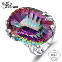 Luxury Huge 42ct High Quality Rainbow Fire Mystic Topaz Concave Solid 925 Sterling Silver Ring Vintage