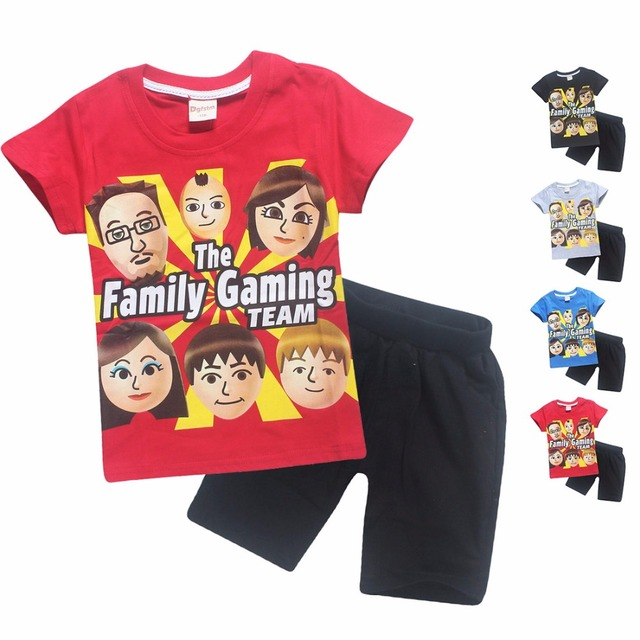 3b15a8f87b33 Roblox Fgteev 2018 Summer Cotton Kids Clothing Set Faces Baby Girls Boys  Children T Shirts + Shorts Fgtv Sport Suit Free Ship