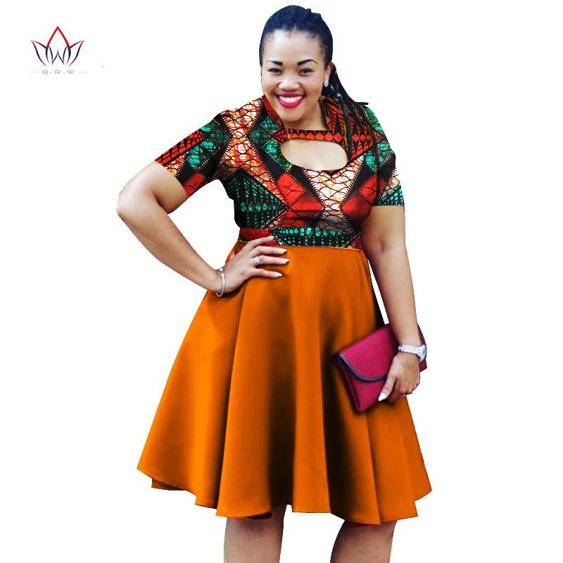 b9e41db97 2019 الصيف الأفريقية الشمع طباعة فساتين للنساء بازان الجوف حزب اللباس زائد  حجم Dashiki الأفريقية نمط الملابس WY1094