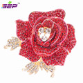 Crystals Rhinestone Rose Brooch Leaves Flower Broach Hat Pins Women Jewelry Accessories Bridal Wedding FB1077