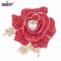 Fuchsia Rhinestone Crystals Rose Flower Brooch Broach Pin 2 1 FB1077